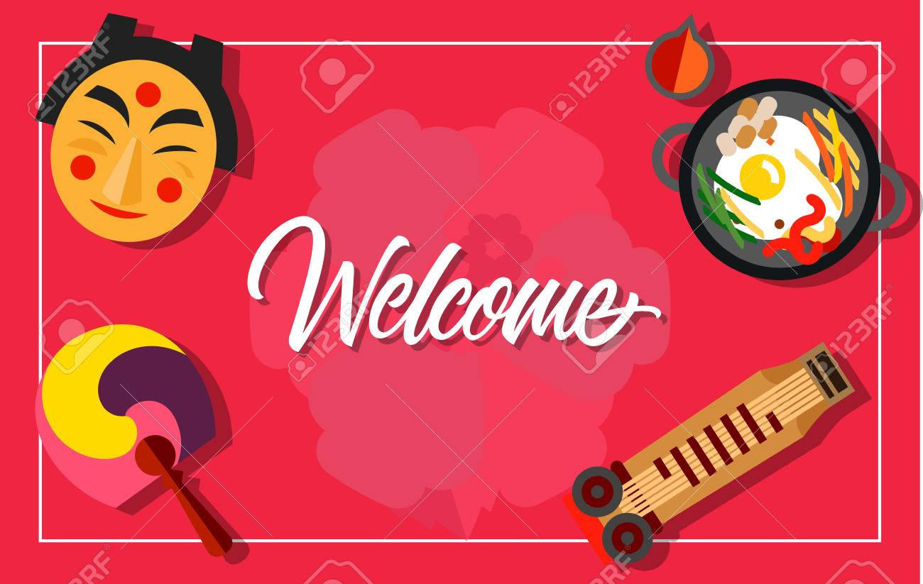 Welcome Lettering With Japanese Mask Fan Dish And Zither Design