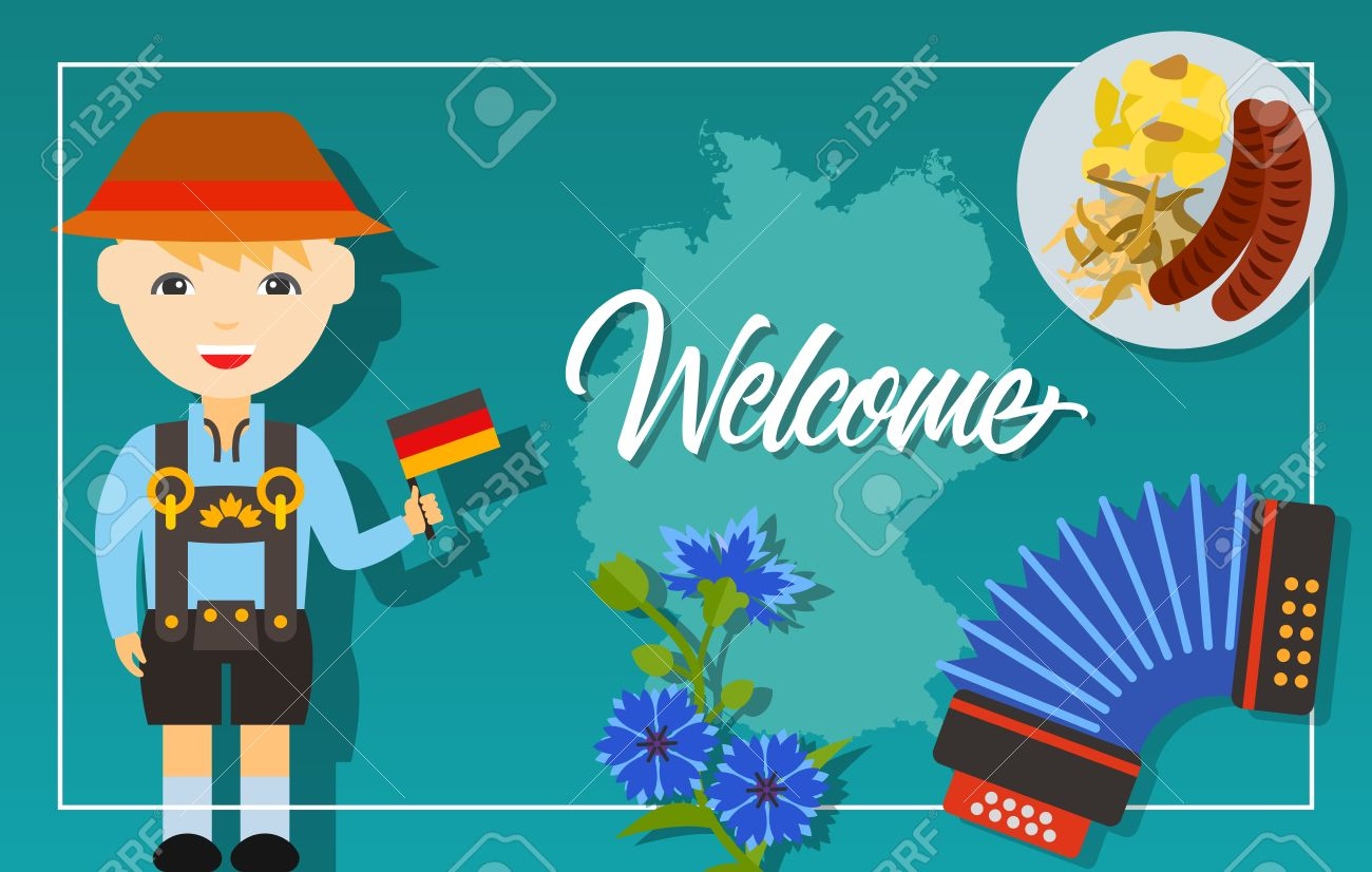 Welcome lettering travel poster or greeting card with german welcome lettering travel poster or greeting card with german map man in national costume kristyandbryce Choice Image