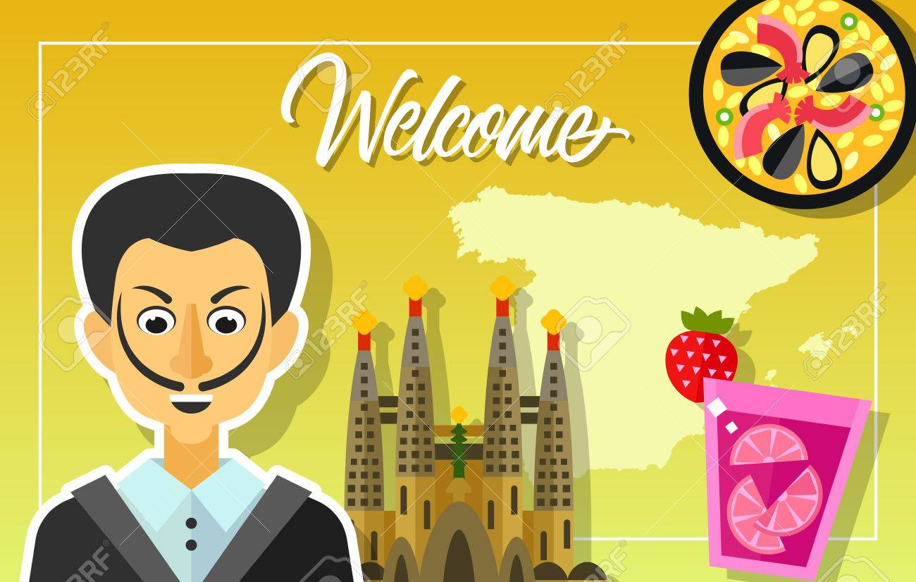 Welcome lettering outline of spain paella sangria drink sagrada welcome lettering outline of spain paella sangria drink sagrada familia church kristyandbryce Gallery