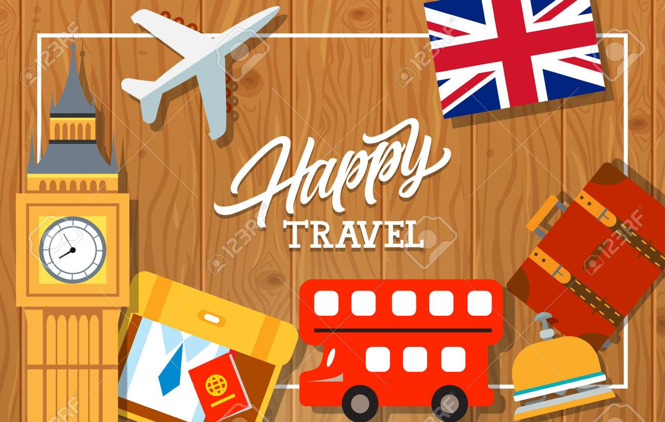 Happy Travel Lettering Touristic Greeting Card With Uk Flag
