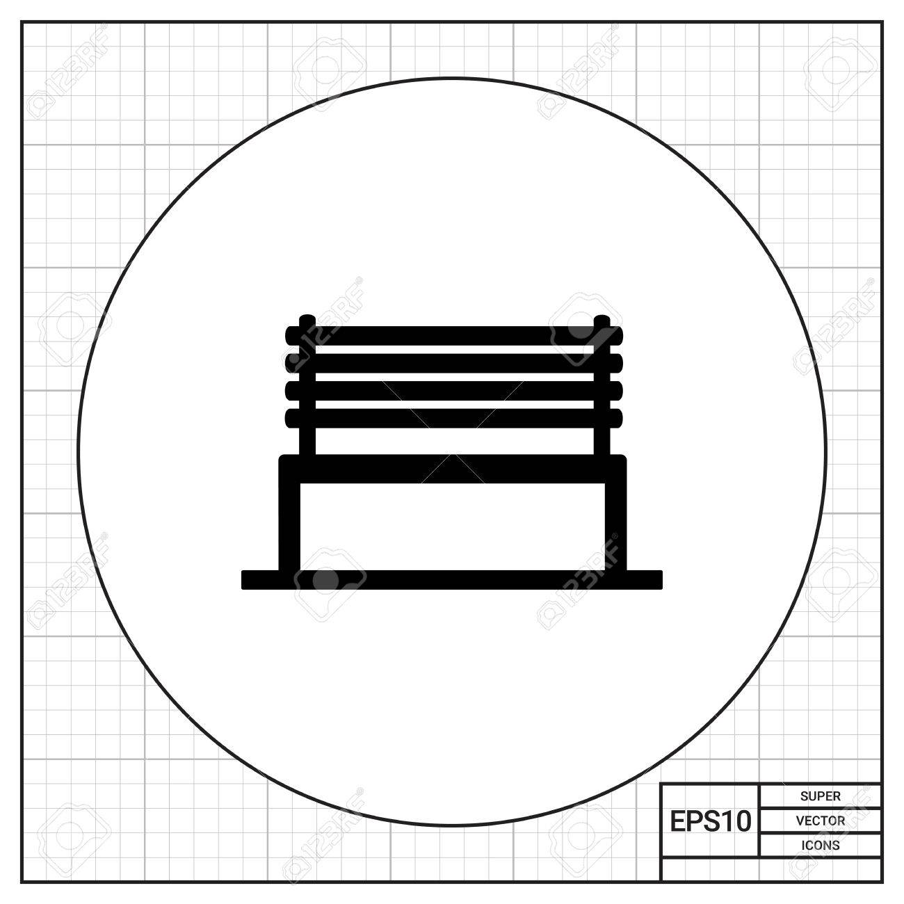 Groovy Monochrome Vector Icon Of Park Bench With Back Made Of Wooden Gmtry Best Dining Table And Chair Ideas Images Gmtryco