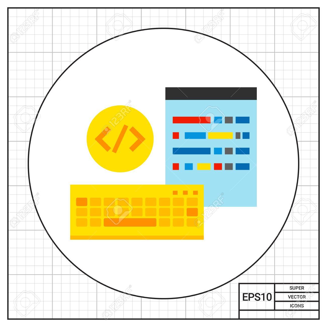 Teclado Y Pantalla Con Símbolos De Código En Círculo. Digital, Datos ...