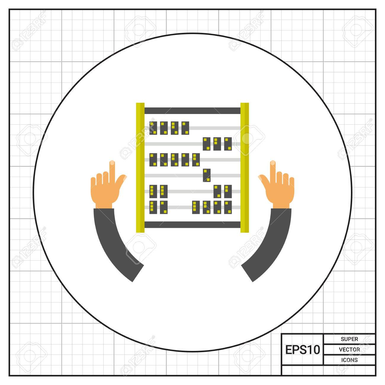 Illustration of human hands and counting frame  Analytics, information,