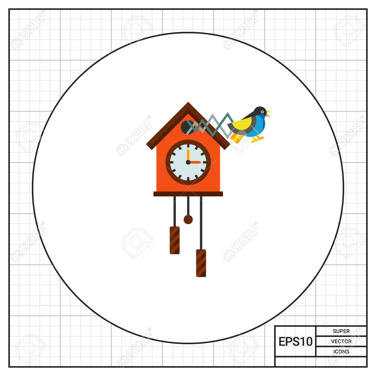 illustration of cuckoo clock time clock hour hand minute stock