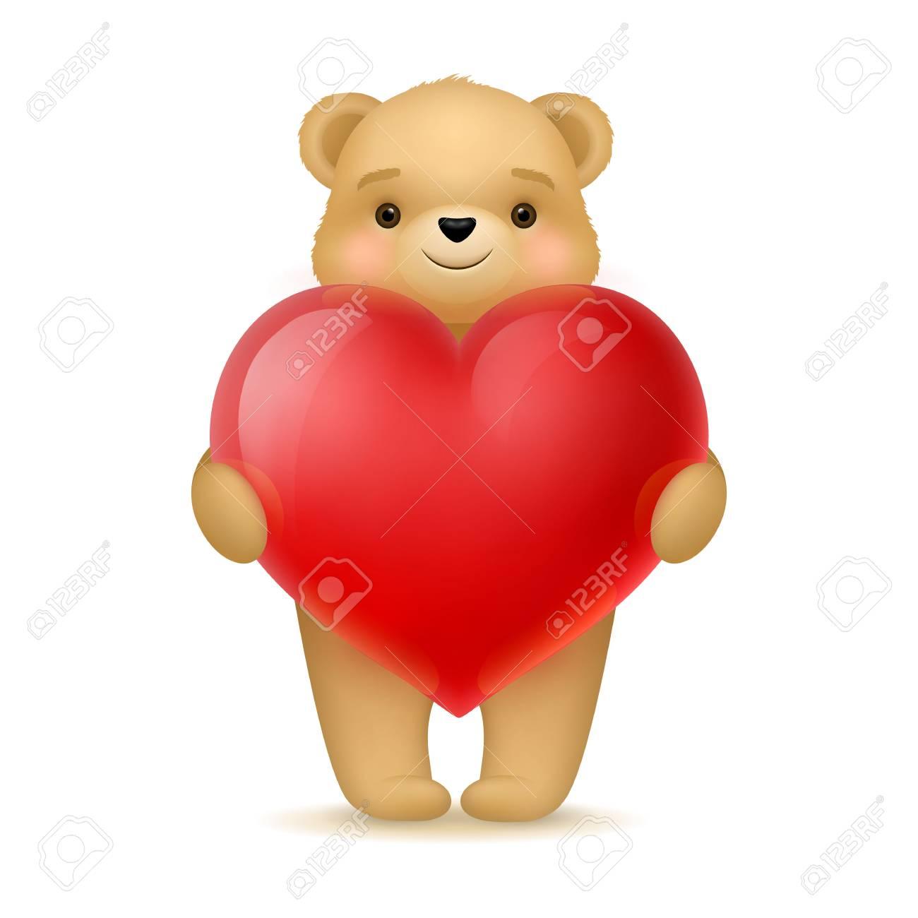 Cute Teddy Bear Holding Big Heart Stock Photo   68460584