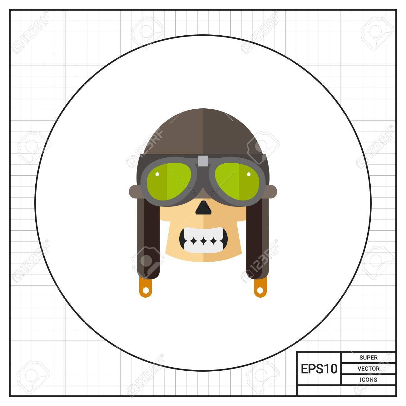 e52796d637 Human Skull With Retro Aviator Helmet Icon Royalty Free Cliparts ...