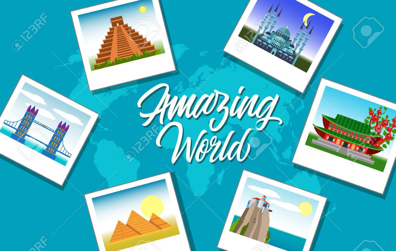 Amazing world lettering with photos of famous landmarks on amazing world lettering with photos of famous landmarks on background with world map silhouette handwritten gumiabroncs Gallery