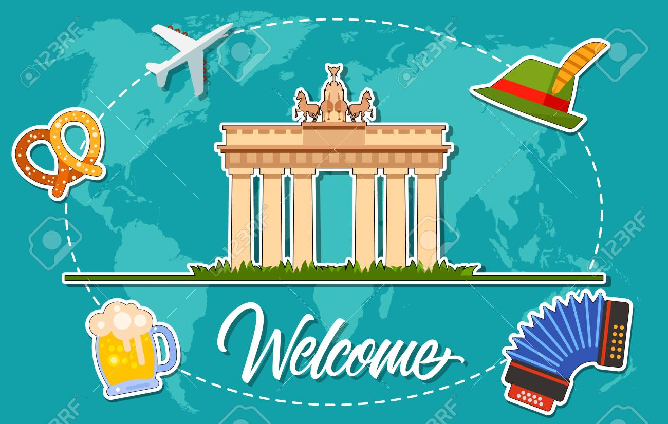 Welcome lettering with brandenburg gate accordion pretzel stock pretzel tirol hat mug of beer on background with world map silhouette design elements can be used for postcard banner poster invitation card gumiabroncs