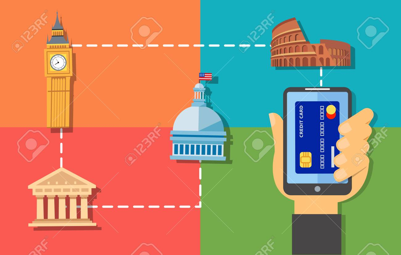 poster design hand holding phone with credit card image making