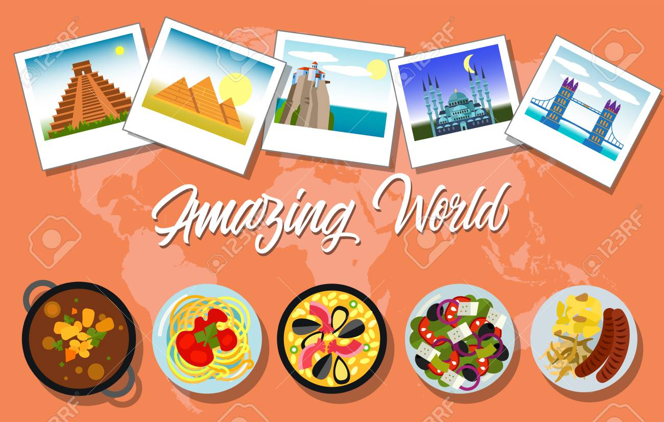 Amazing world lettering with national dishes and photos of famous amazing world lettering with national dishes and photos of famous landmarks on background with world map gumiabroncs Gallery