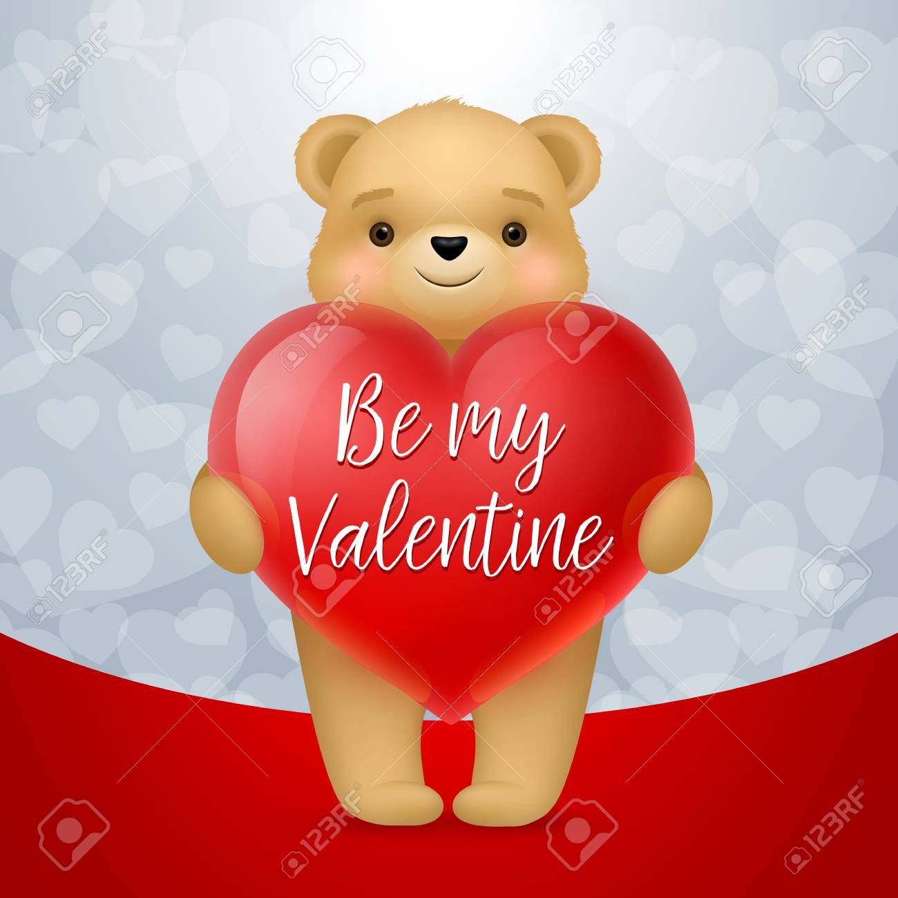 Be My Valentine Lettering On Heart Saint Valentines Day Greeting