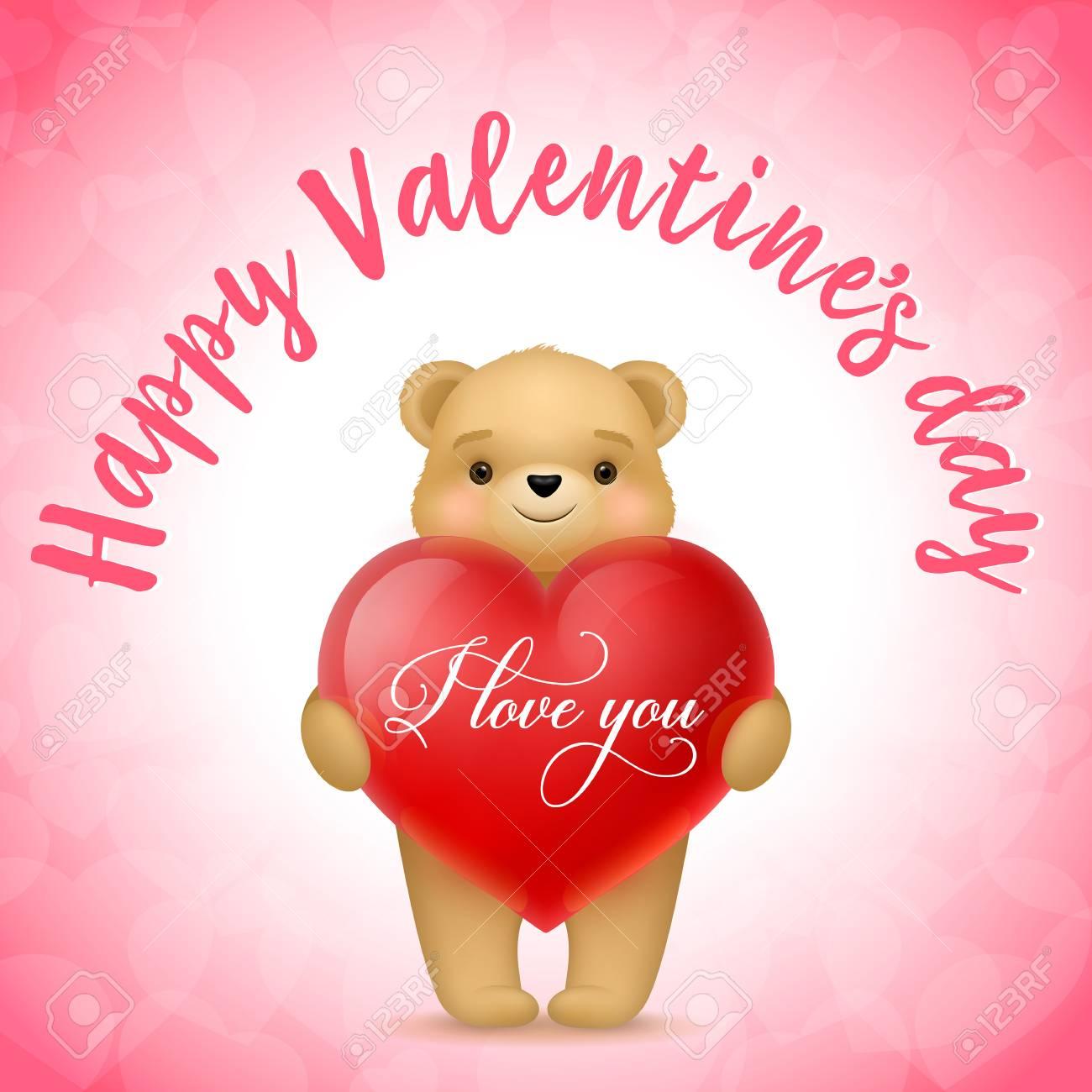 Happy valentines day i love you lettering saint valentines day happy valentines day i love you lettering saint valentines day greeting card with teddy bear altavistaventures Images
