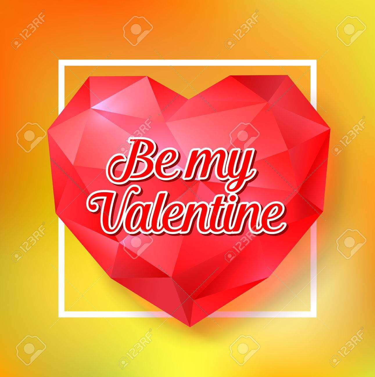 Sé Mi Letra De San Valentín En El Corazón De Diamante. Tarjeta De ...