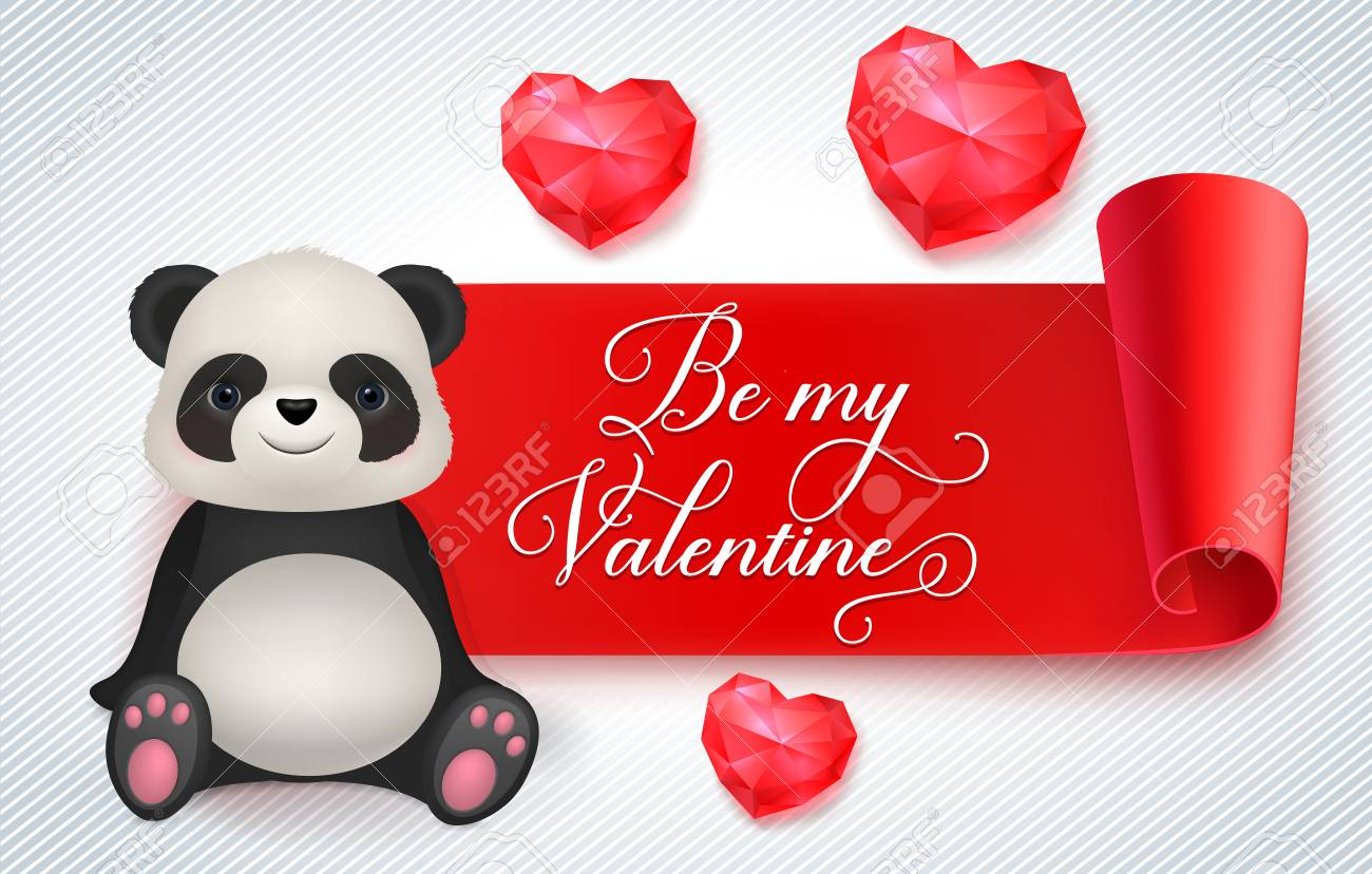 Be My Valentine Lettering On Ribbon Saint Valentines Day Greeting