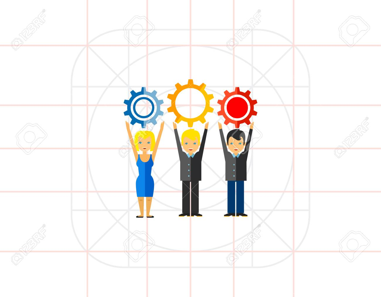 Multicolored vector icon of three people holding gears representing workforce concept - 70587894