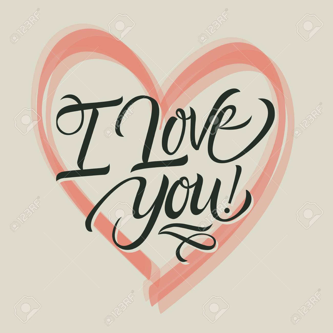 i love you handwritten lettering and heart stock photo picture and