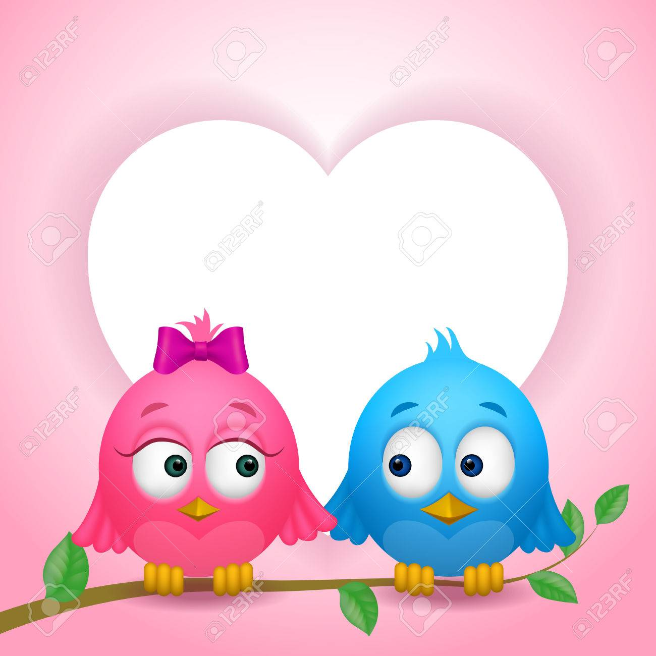Couple Of Two Cute Birds In Love On Branch And Heart Shaped Frame ...