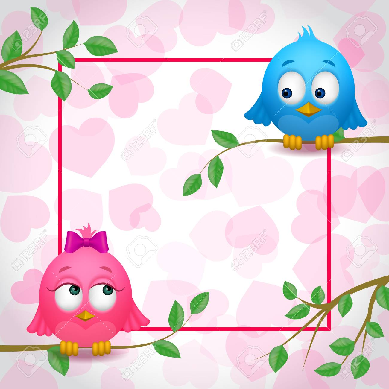 Cute Birds Couple In Love And Frame Royalty Free Cliparts, Vectors ...