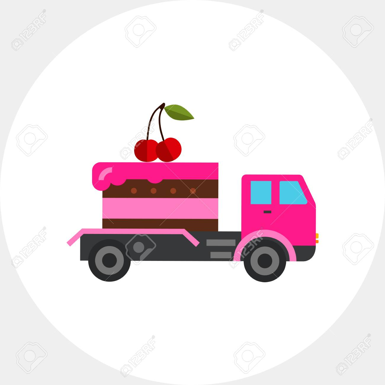 Cake Delivery By Truck Icon Stock Vector