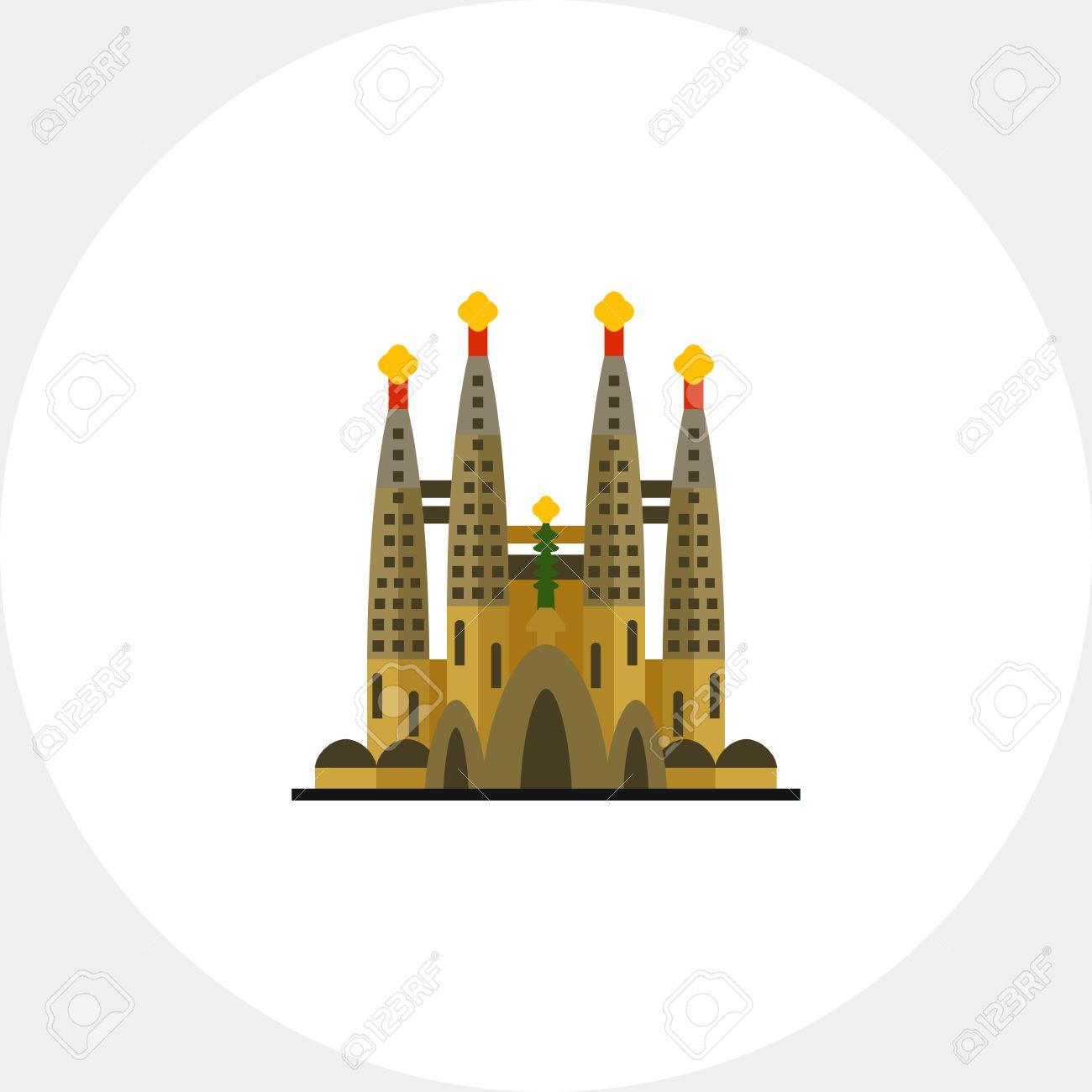 カトリックの教会サグラダ ファミリア アイコンのイラスト素材 ベクタ Image
