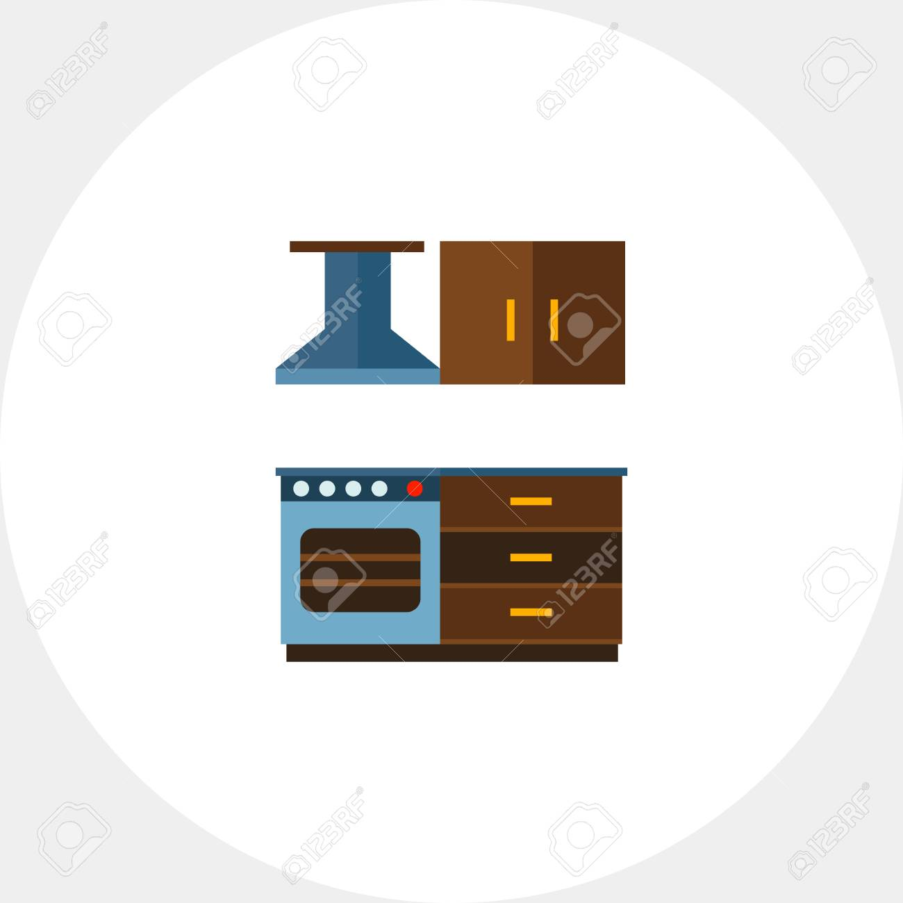 Multicolored Vector Icon Of Kitchen Interior Including Cooker