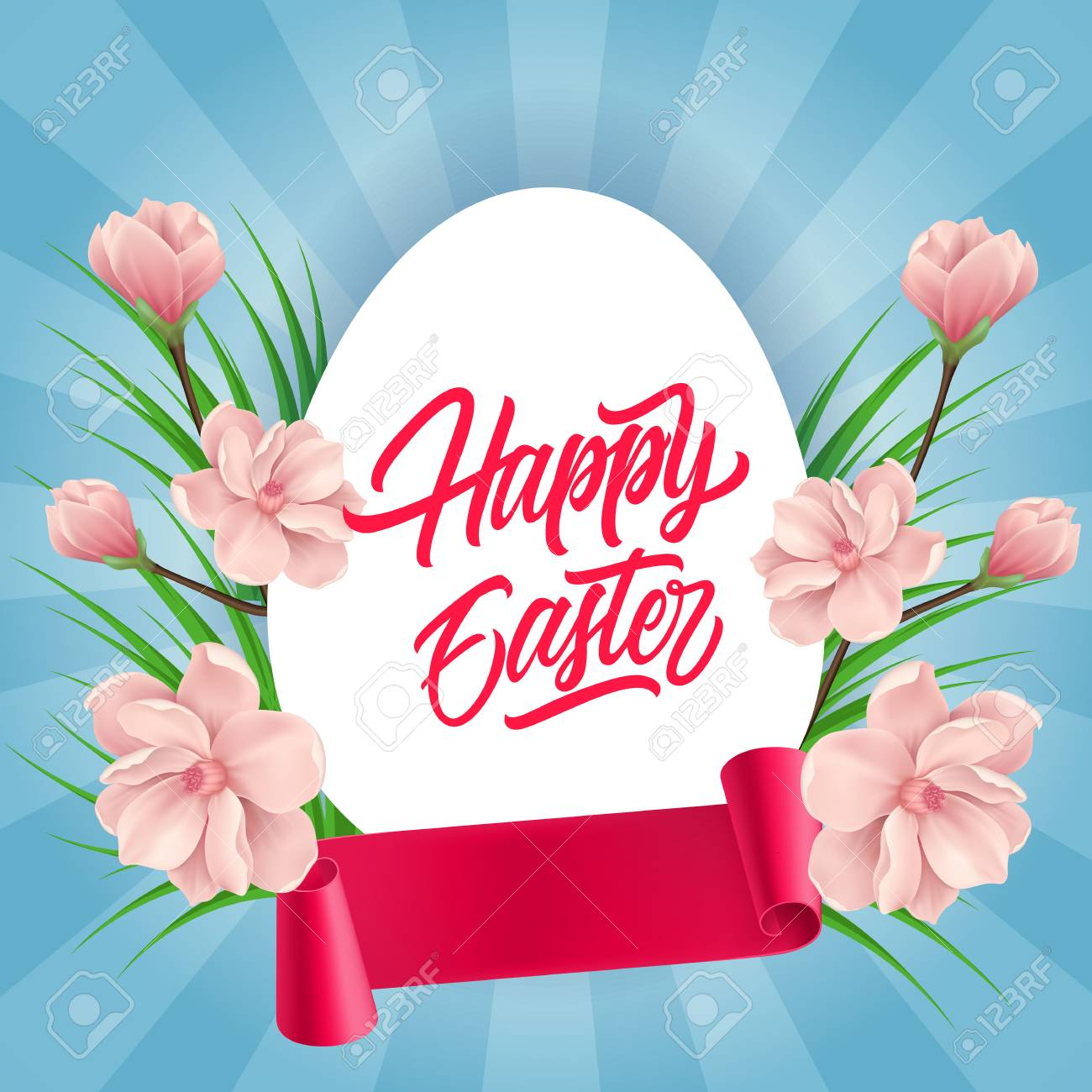 Happy Easter Lettering Easter Greeting Card With Egg Blooming