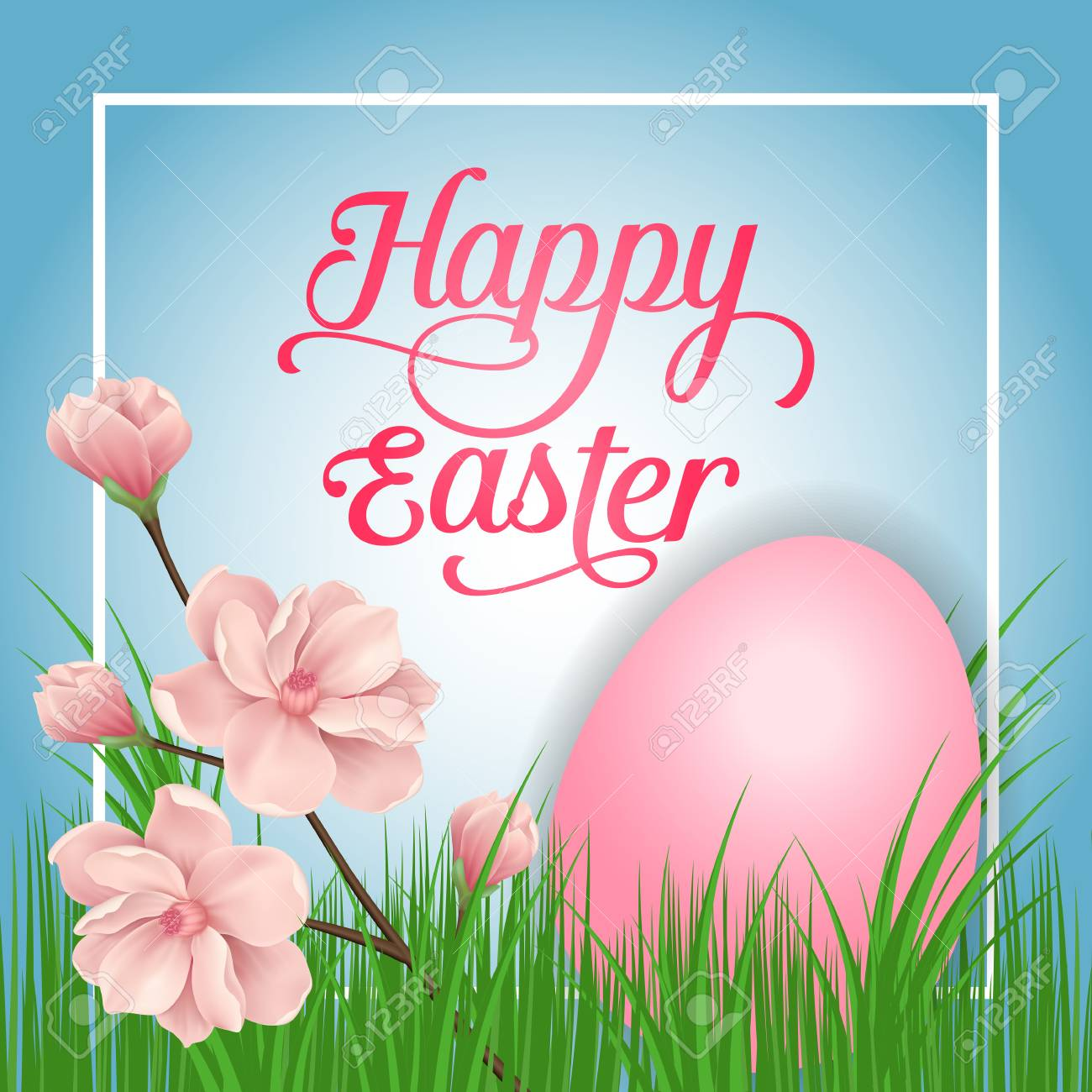 Happy Easter Lettering In Frame Easter Greeting Card With Egg