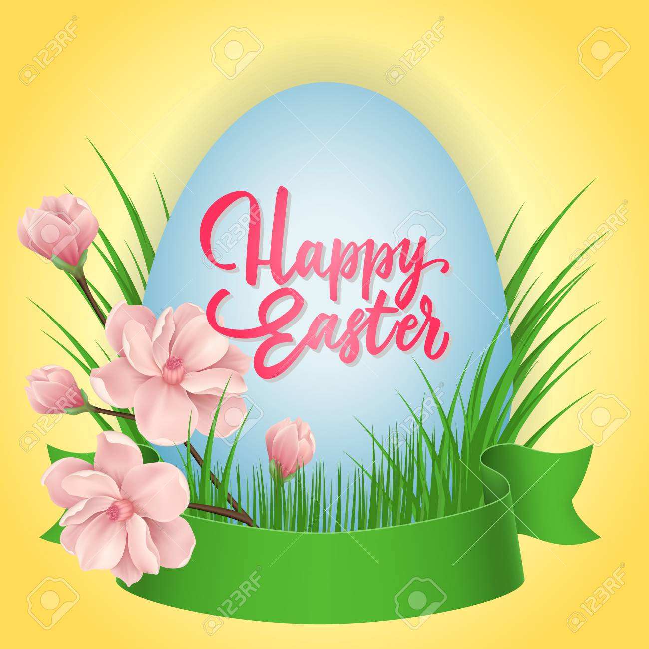 Happy Easter Lettering On Egg Easter Greeting Card With Ribbon