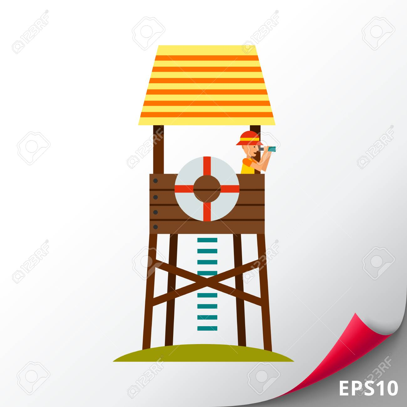lifeguard tower with beach rescuer watching in binoculars sea rh 123rf com