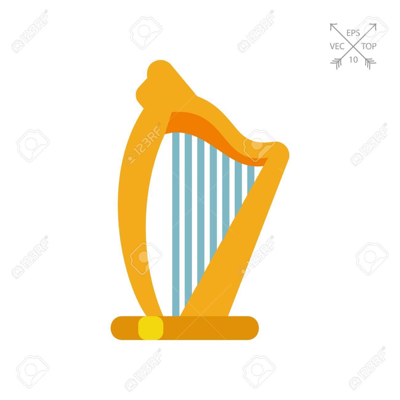 Vector Icon Of Irish Harp Irish Emblem Celtic Music Musical