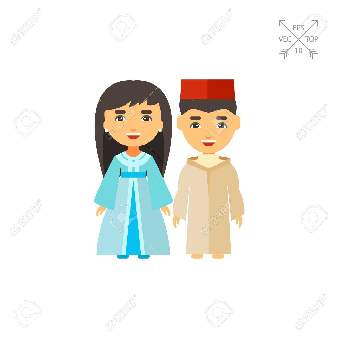 Vector icon of Moroccan couple in national costume. National clothing Moroccan people Moroccan  sc 1 st  123RF.com & Vector Icon Of Moroccan Couple In National Costume. National ...