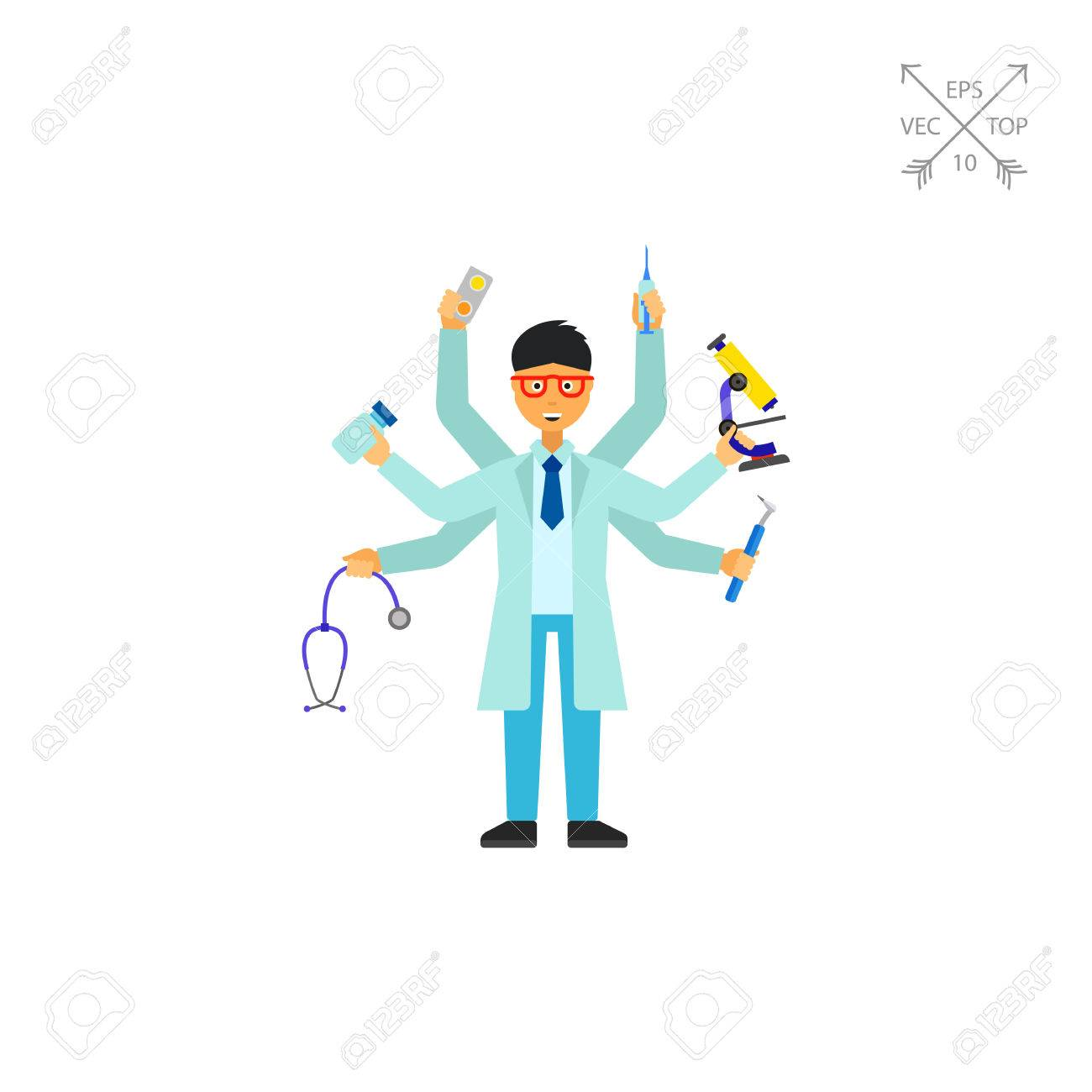 医療機器の千手観音男教授一般開業医複数の熟練した専門医多機能