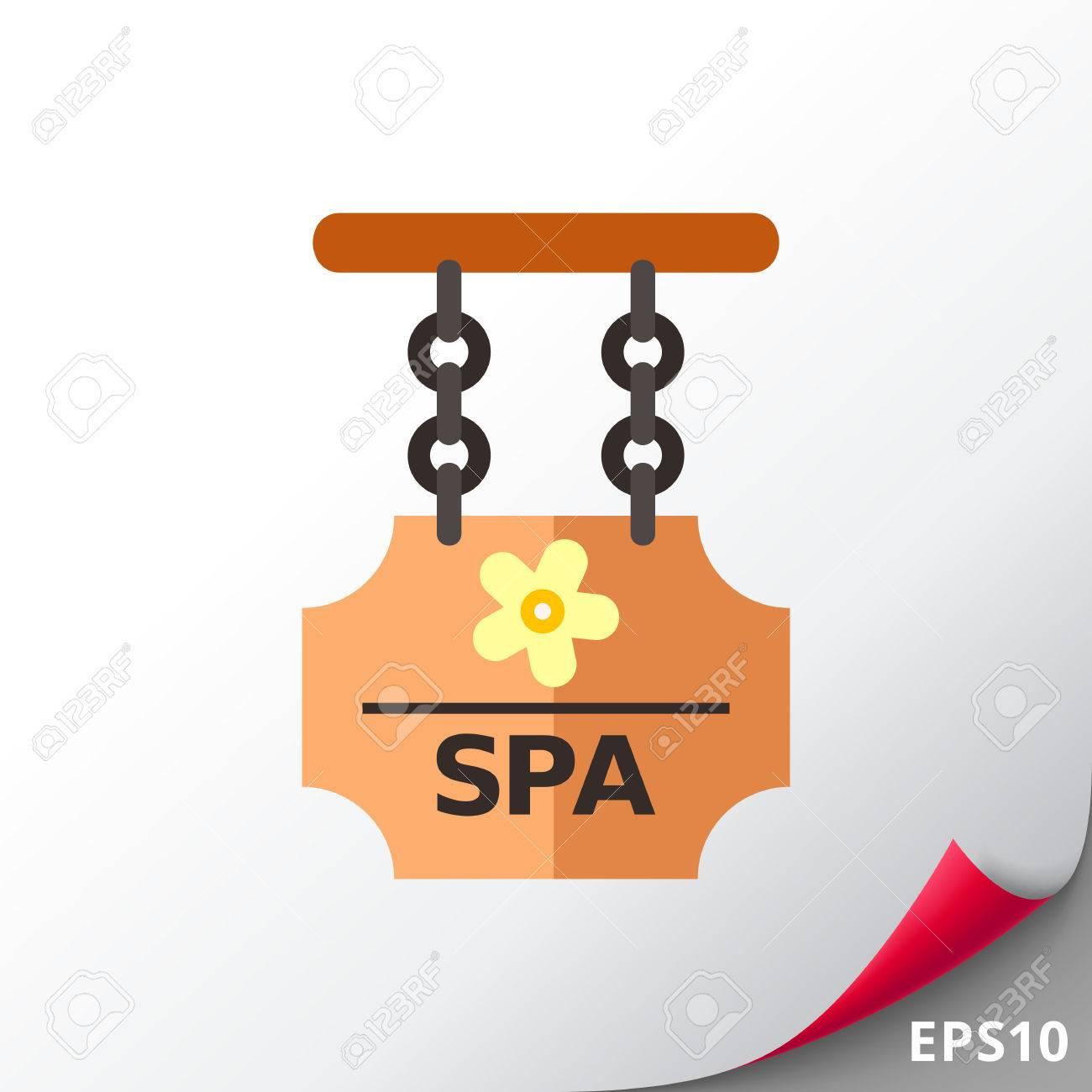 Holzbrett Mit Spa-Zeichen Auf Den Ketten Zu Halten. Spa-Salon, Hotel ...