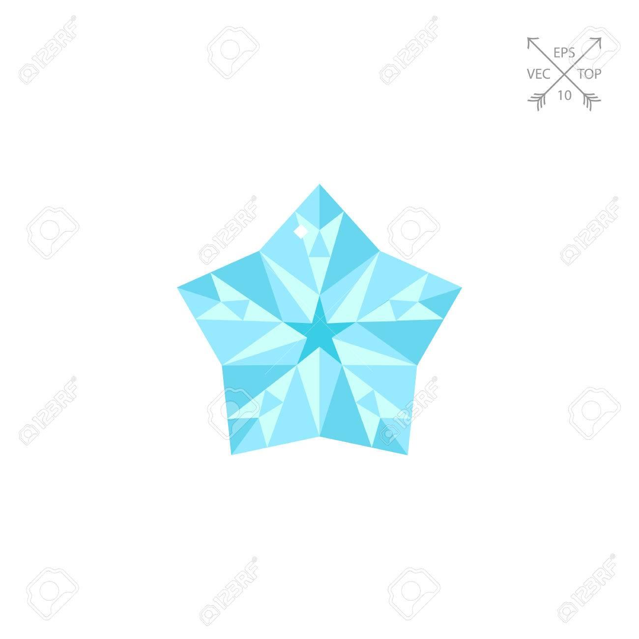 Shiny Diamond Star Vector Icon Stock