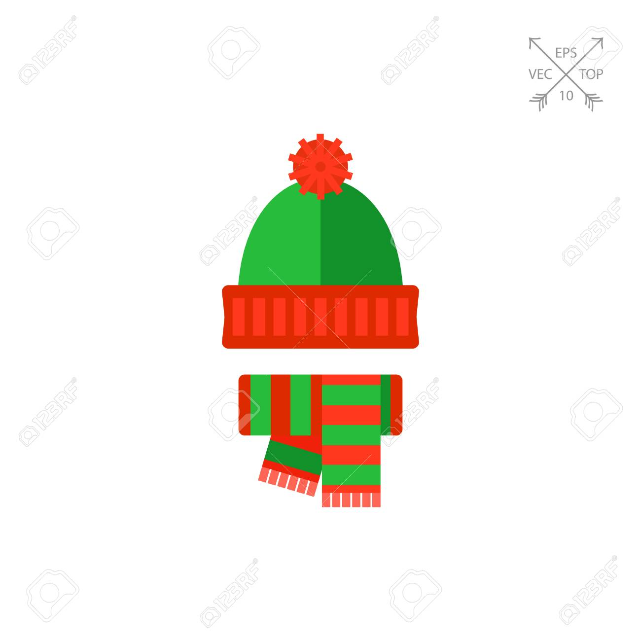 e8ab3a844a6c0 Winter knit hat and scarf vector icon Stock Vector - 75537473
