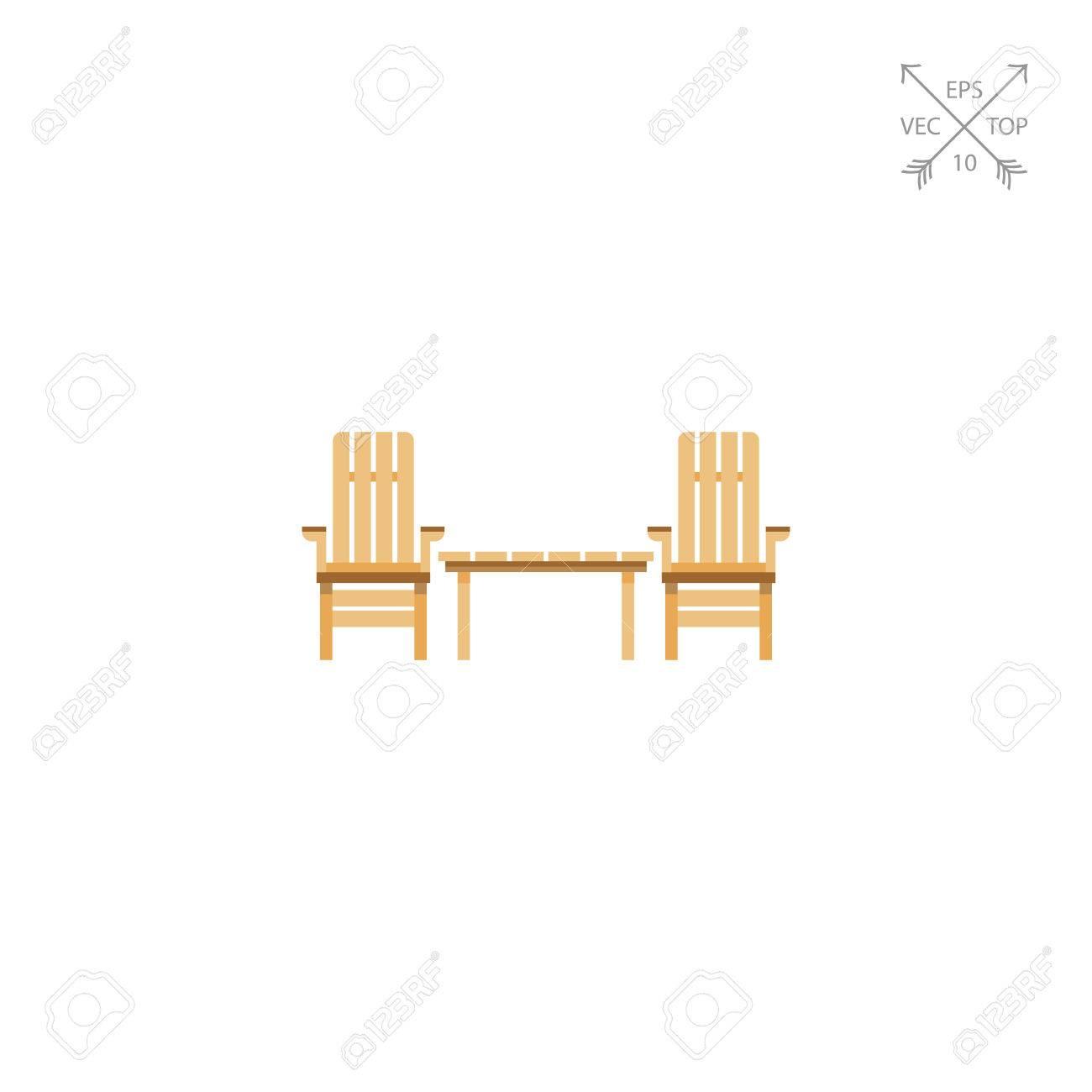Chaises de jardin en bois et table Icône