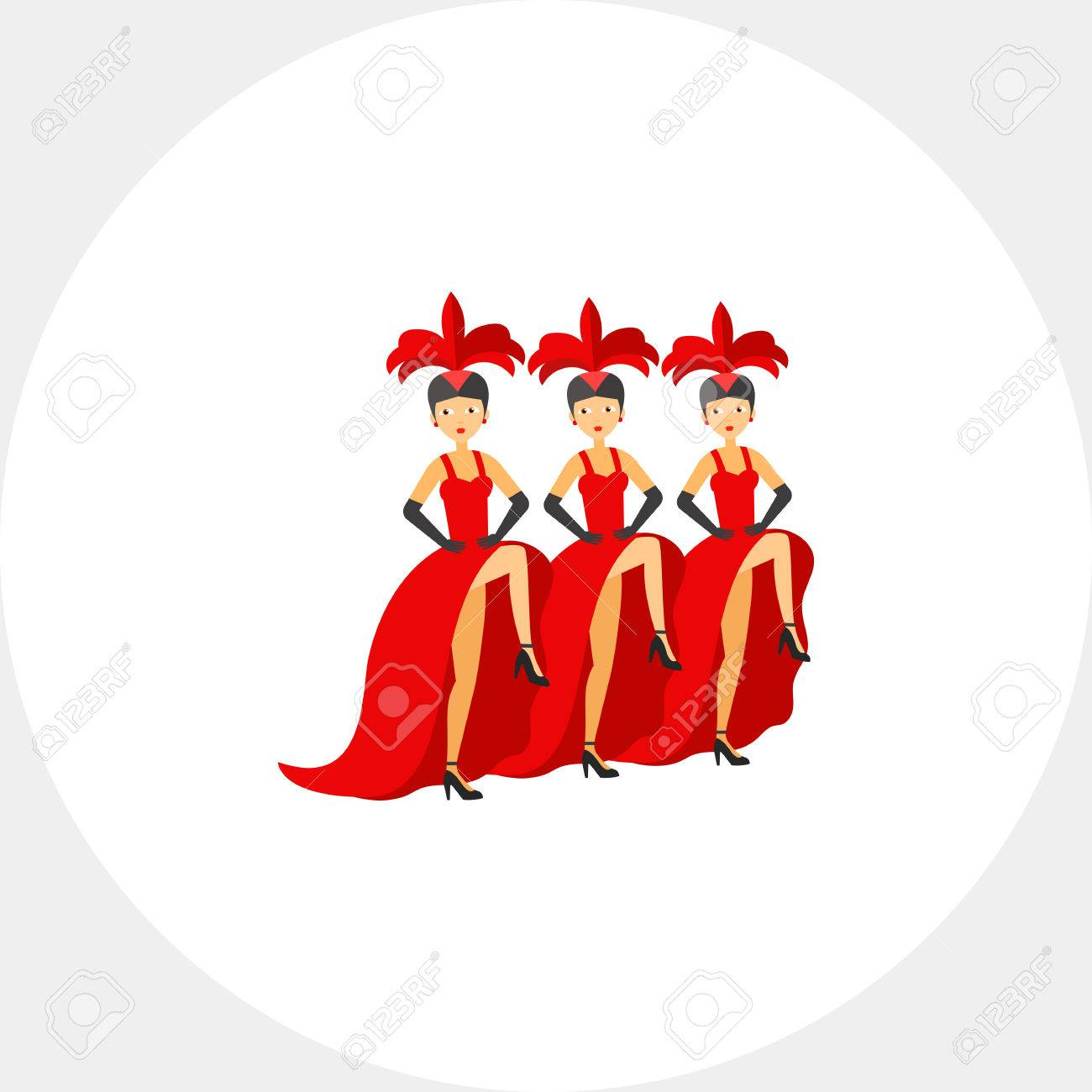 french cancan dancers icon royalty free cliparts vectors and stock rh 123rf com Dancer Clip Art Top Hat Clip Art