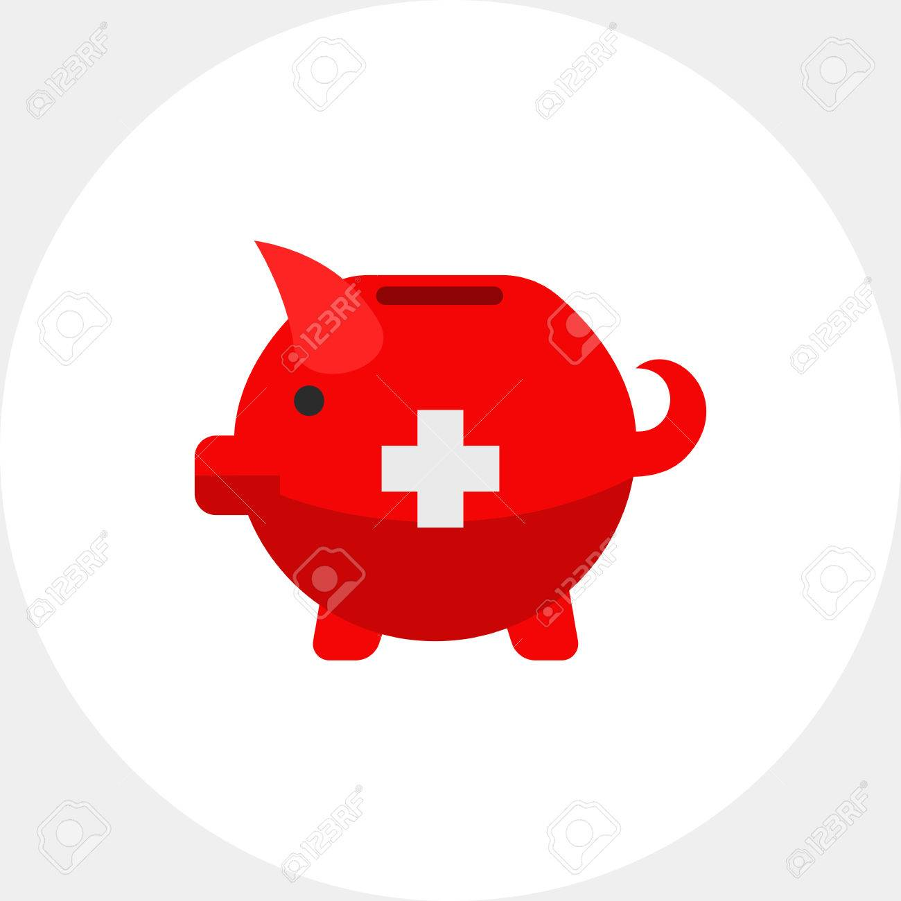 Vector icon of swiss piggy bank with white cross souvenir swiss vector icon of swiss piggy bank with white cross souvenir swiss bank savings buycottarizona Image collections
