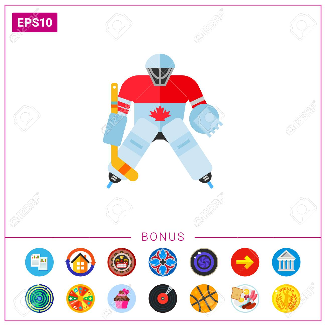Canada Hockey Goalie Icon Royalty Free Cliparts Vectors And Stock