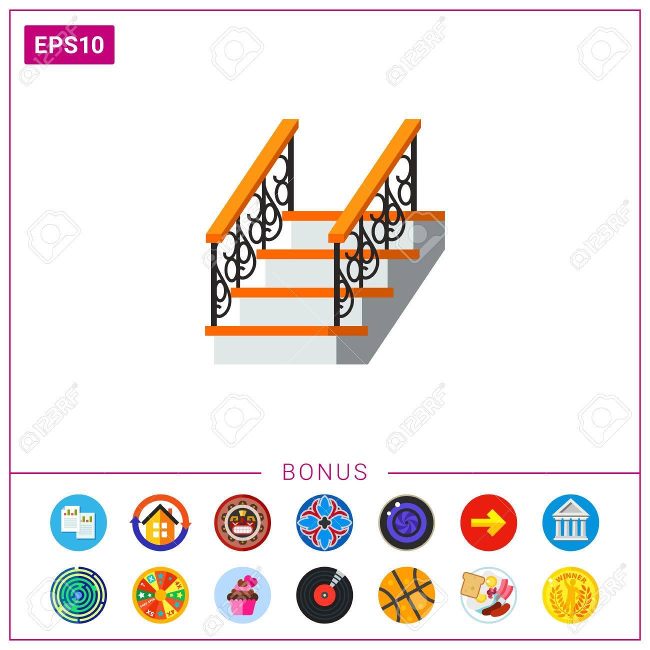 Maison Avec Travaux 77 icône de vecteur d'échelle avec rampe de clôture forgée. maison, escalier,  sortie. concept des travaux de fer. peut être utilisé pour des sujets comme