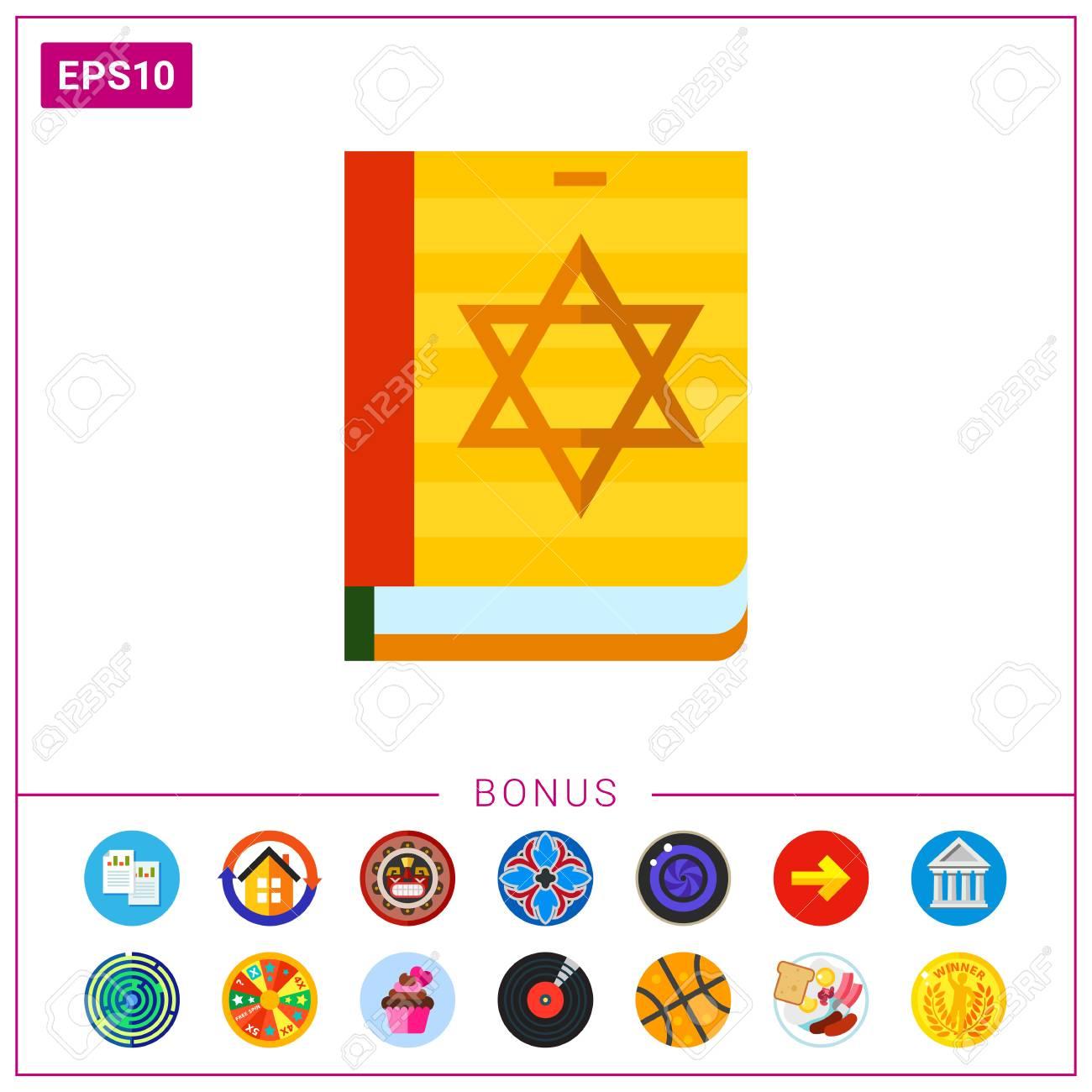multicolored vector icon of torah book with star of david on rh 123rf com Super Star Clip Art Blue Star Clip Art