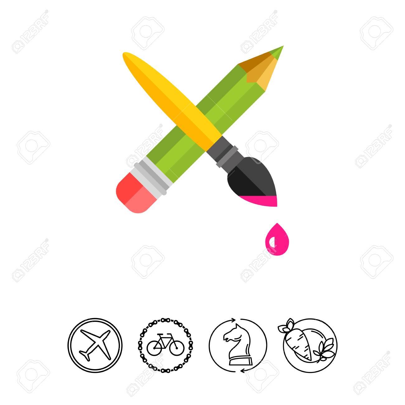 Crayon Croise Avec Pinceau Peinture Talent Creatif Concept De Dessin Peut Etre Utilise Pour Des Sujets Comme L Art Le Design Le Marketing Clip Art Libres De Droits Vecteurs Et Illustration Image