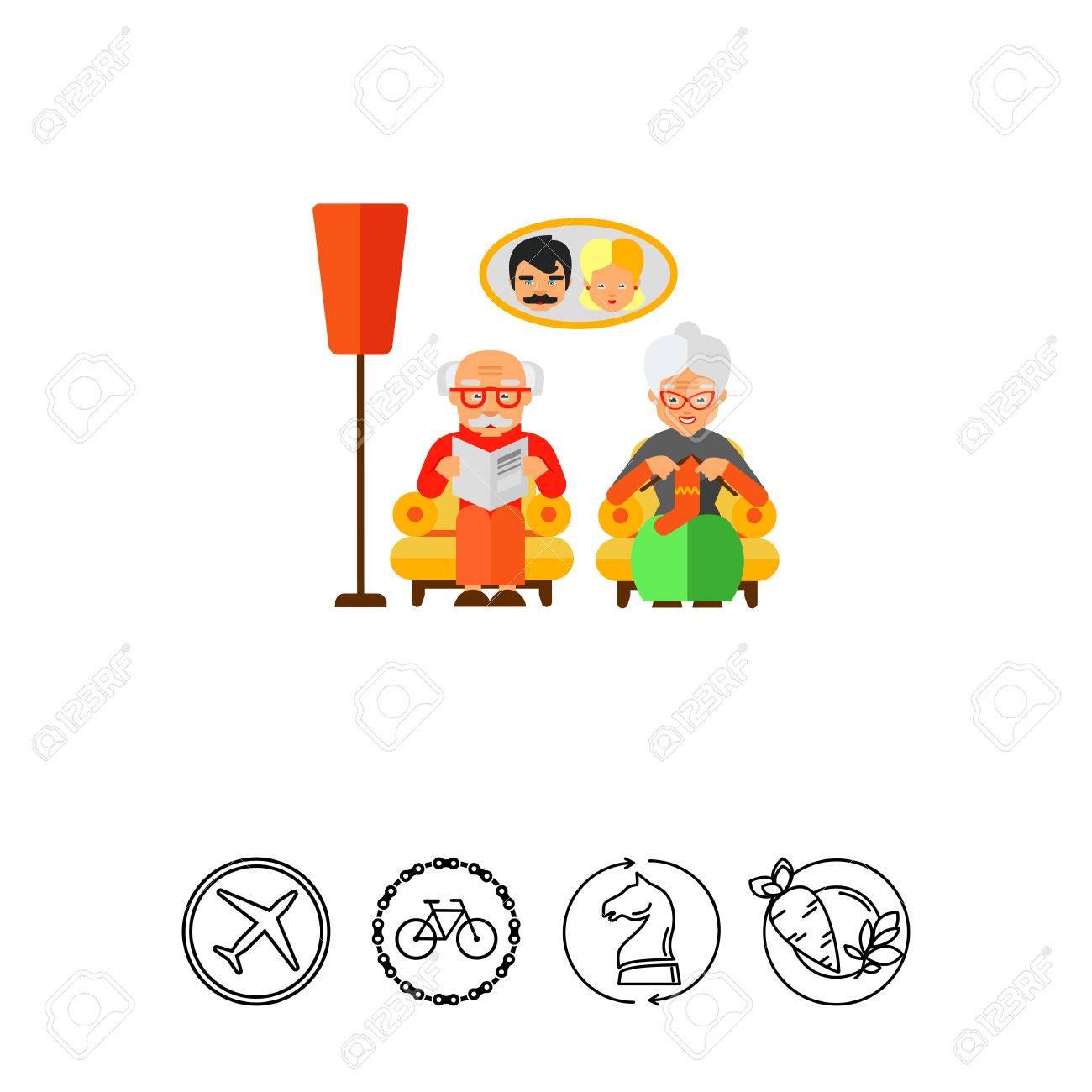 Großeltern Sitzen Im Wohnzimmer. Ältere Menschen, Alter, Komfort ...