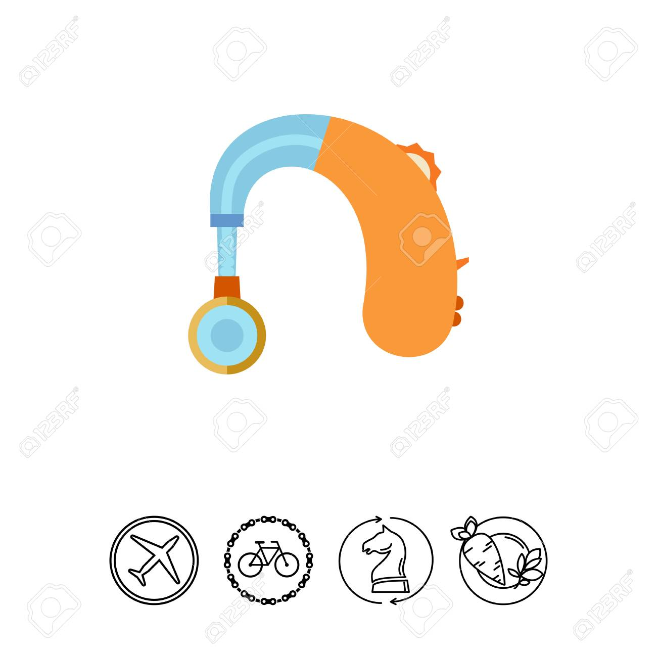 Hearing Aid Apparatus Flat Icon Royalty Free Cliparts Vectors And