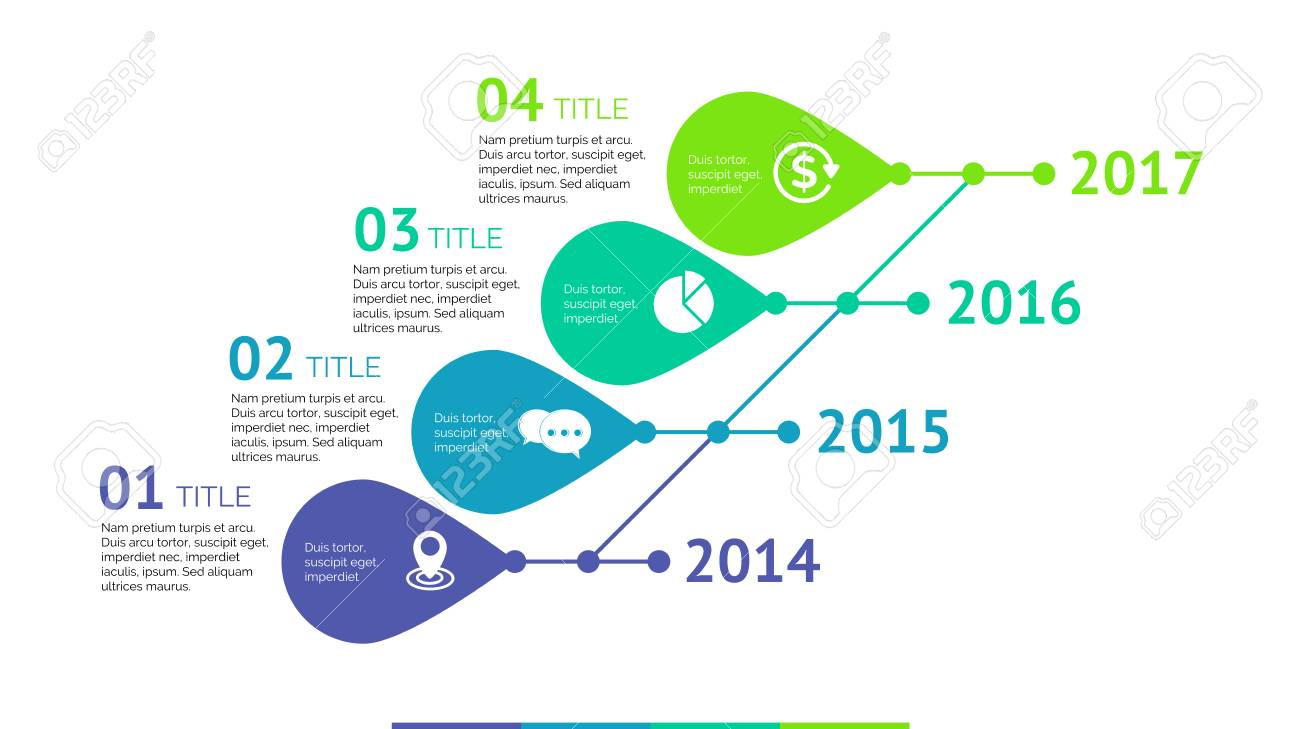Four Titles Timeline Process Chart Slide Template. Business Data ...