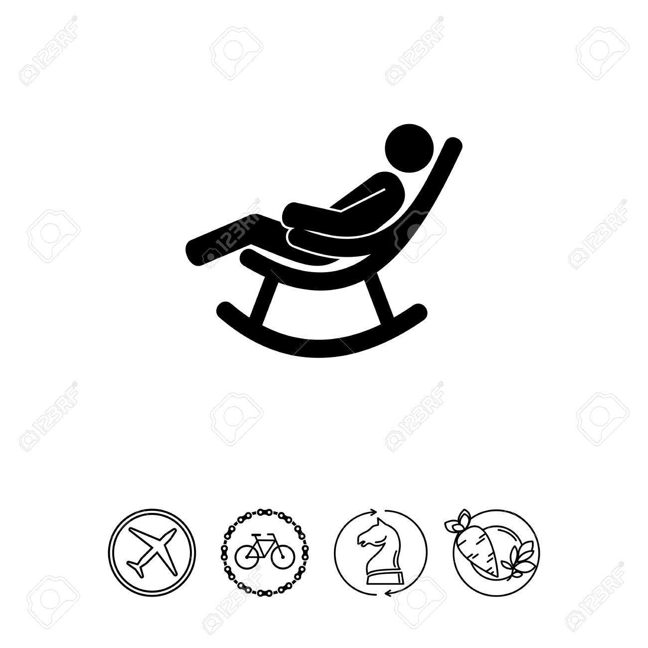 Picture of: Man In Rocking Chair Icon Royalty Free Cliparts Vectors And Stock Illustration Image 78546231