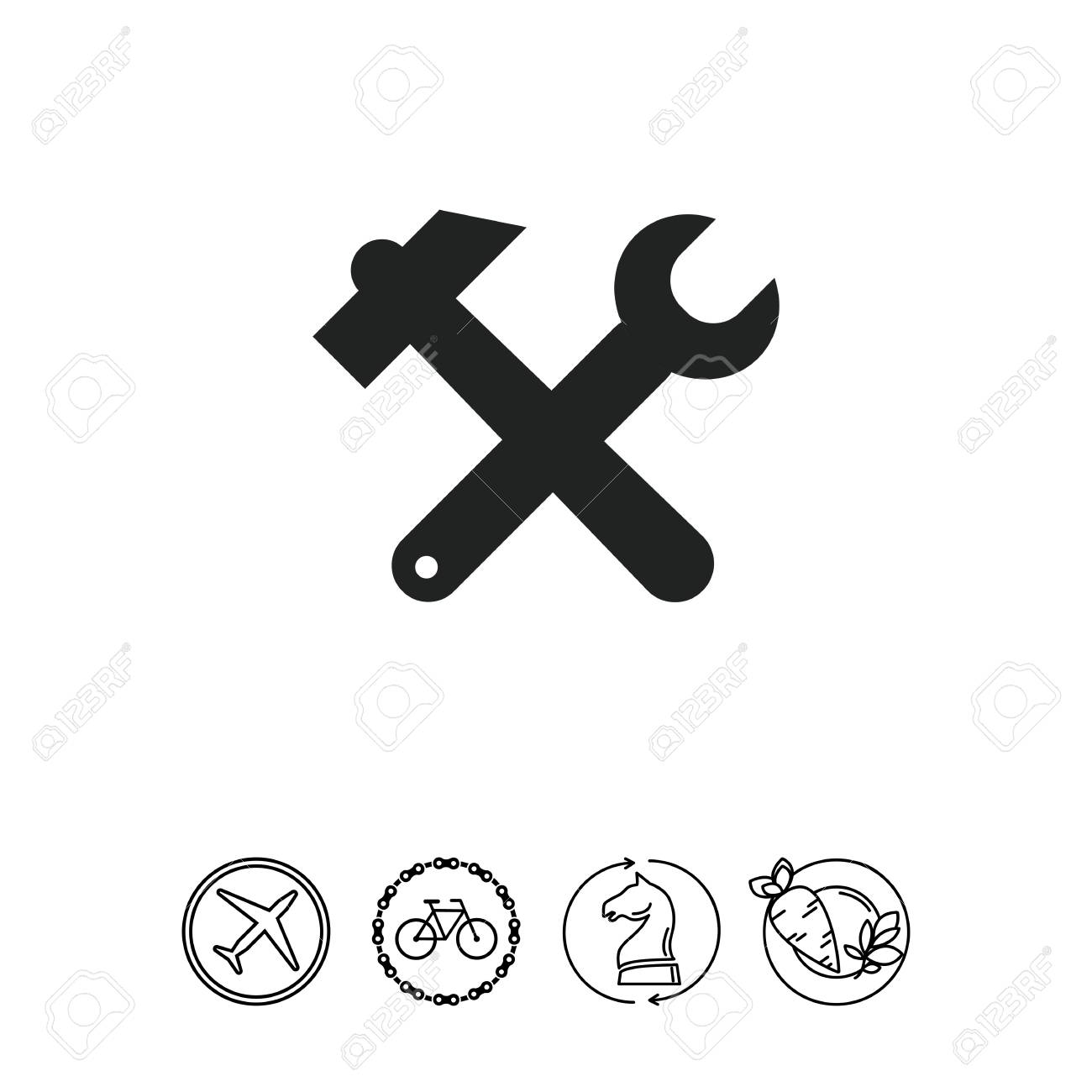 Icon Of Crossed Hammer And Spanner Royalty Free Cliparts Vectors