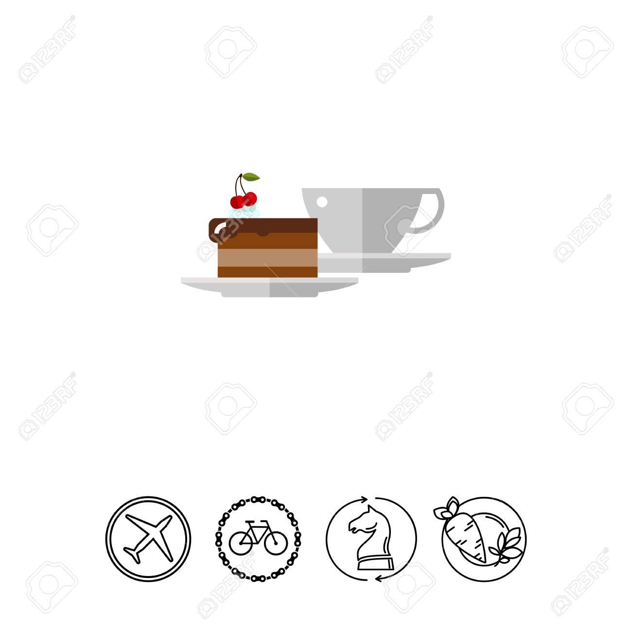 Tasse Kaffee Und Ein Stuck Kuchen Icon Lizenzfrei Nutzbare