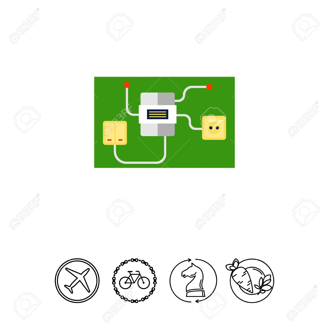 Light Switch And Socket Connected To Electric Meter. Interior ...