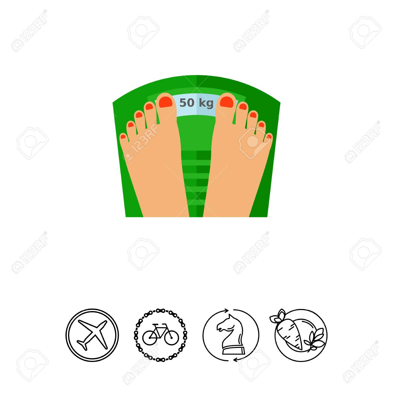female manicured feet on weight scale weight weight loss